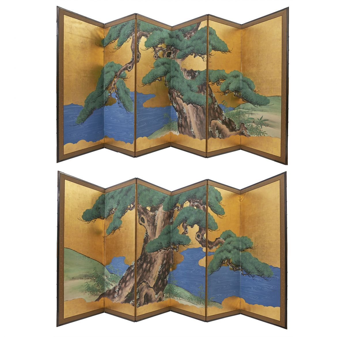Pair Gold Japanese Screens