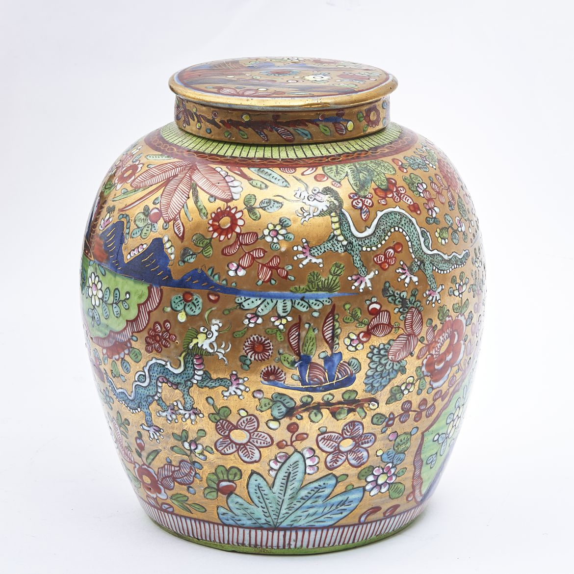Chinese Clobberware Ginger Jar