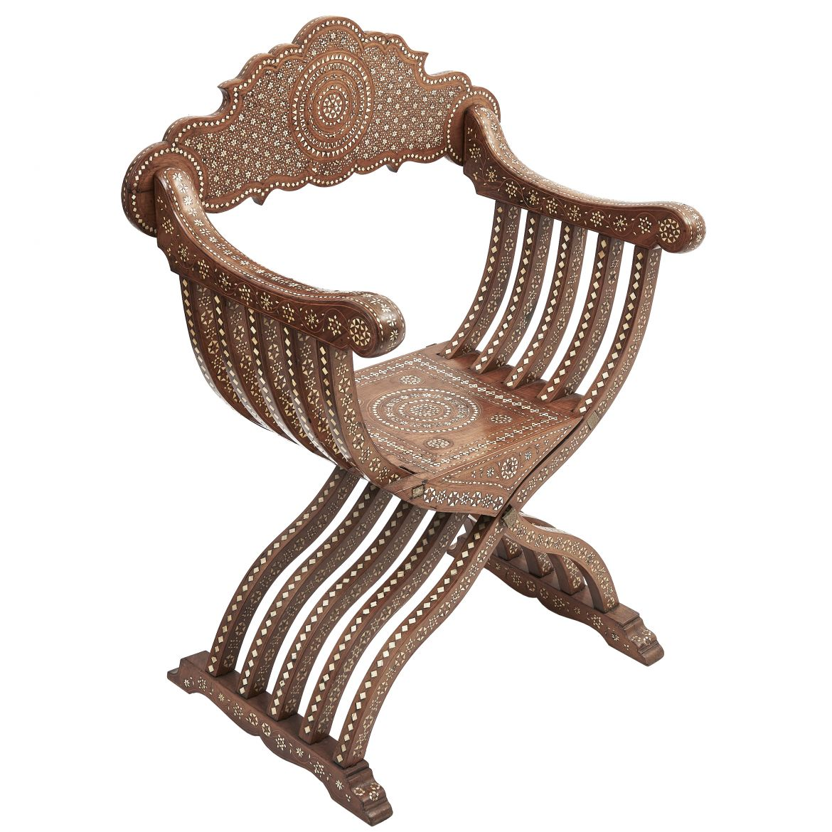 Italian Inlaid Walnut Chair