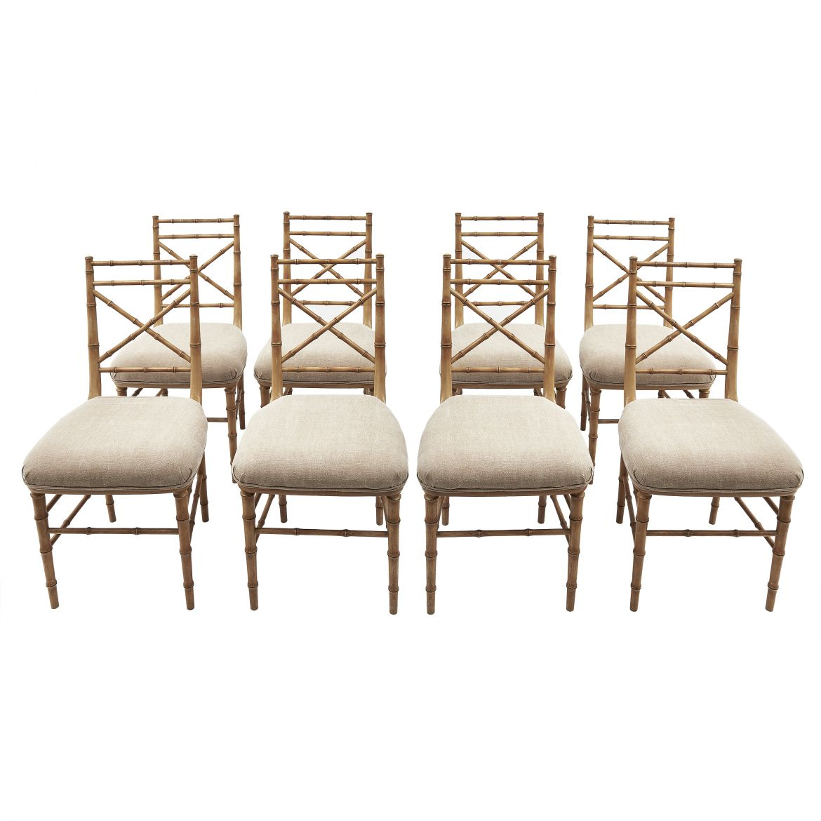 Eight Faux Bamboo Chairs