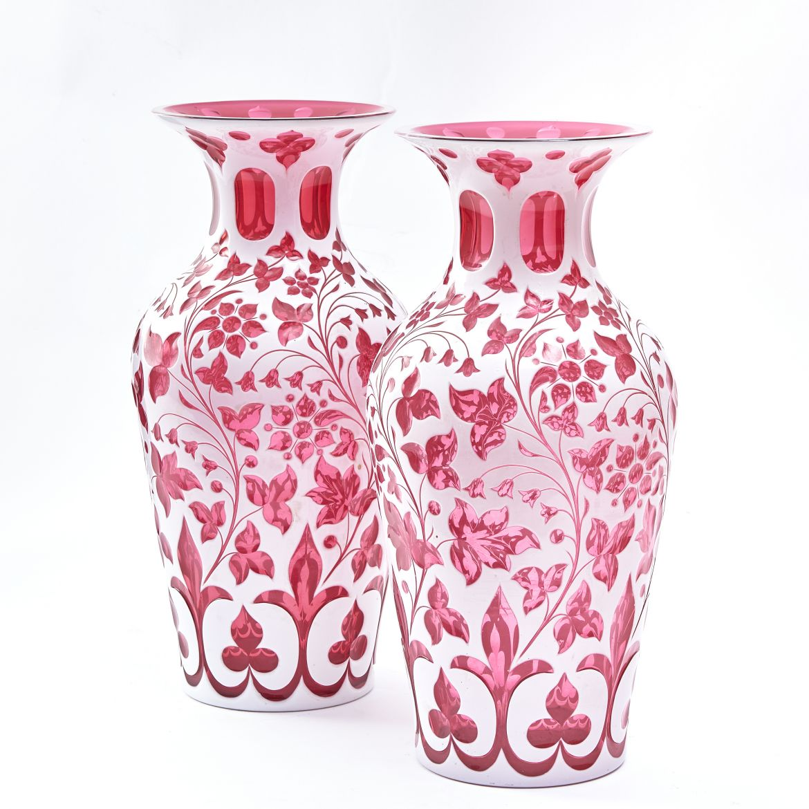 Bohemian Cranberry Glass Vases