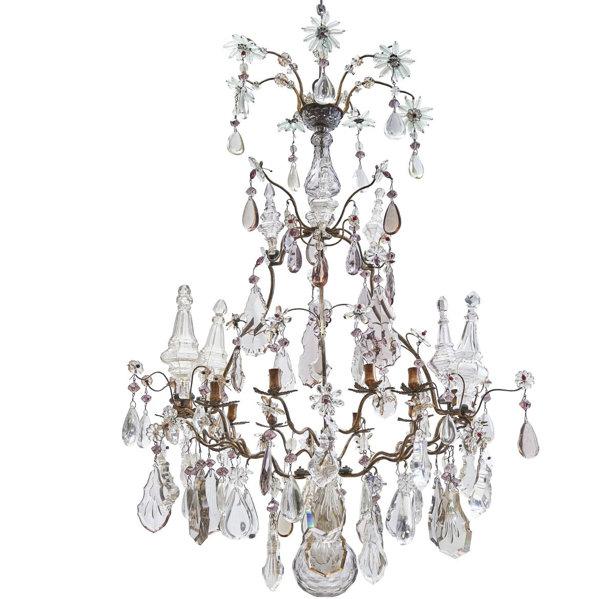 Clear and Amethyst Drop Chandelier