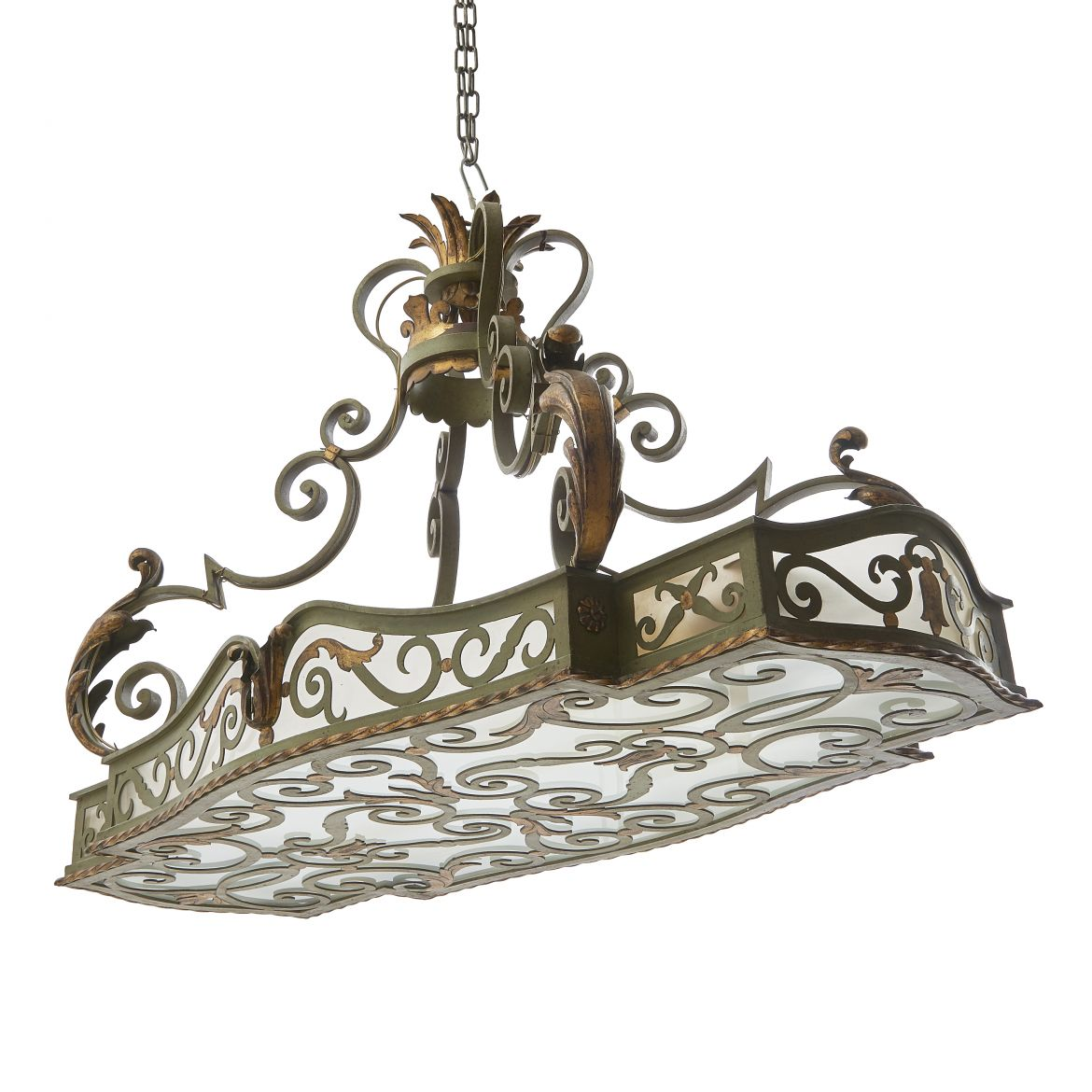 Wrought Iron & Glass Hanging Light