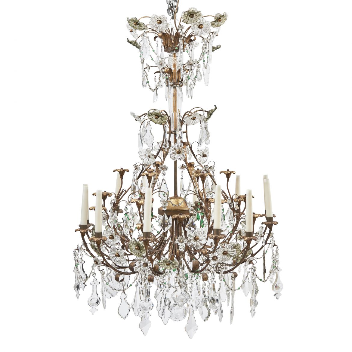Italian Chandelier With Crystal Drops
