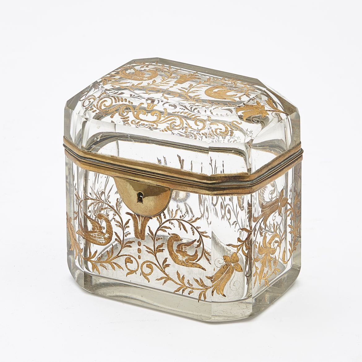 Moser engraved and Gilt Glass Box