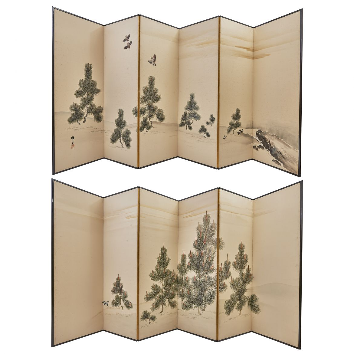 Pair Japanese Screens With Pines