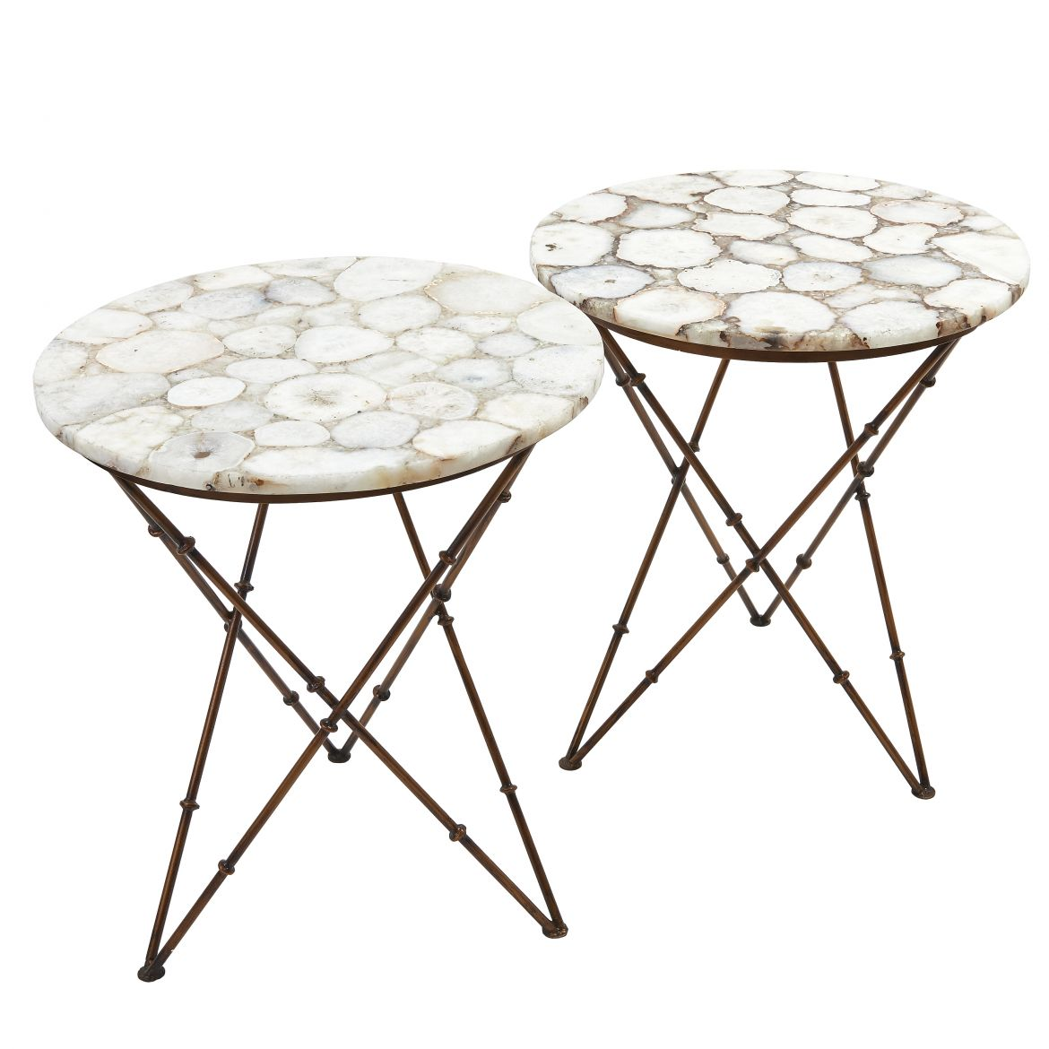 Pair White Agate Tables