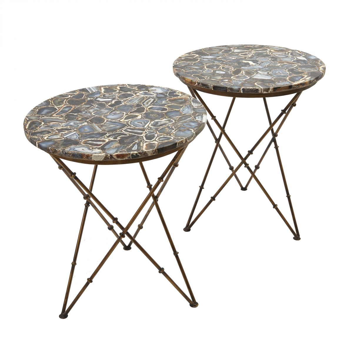 Pair Blue Agate Tables