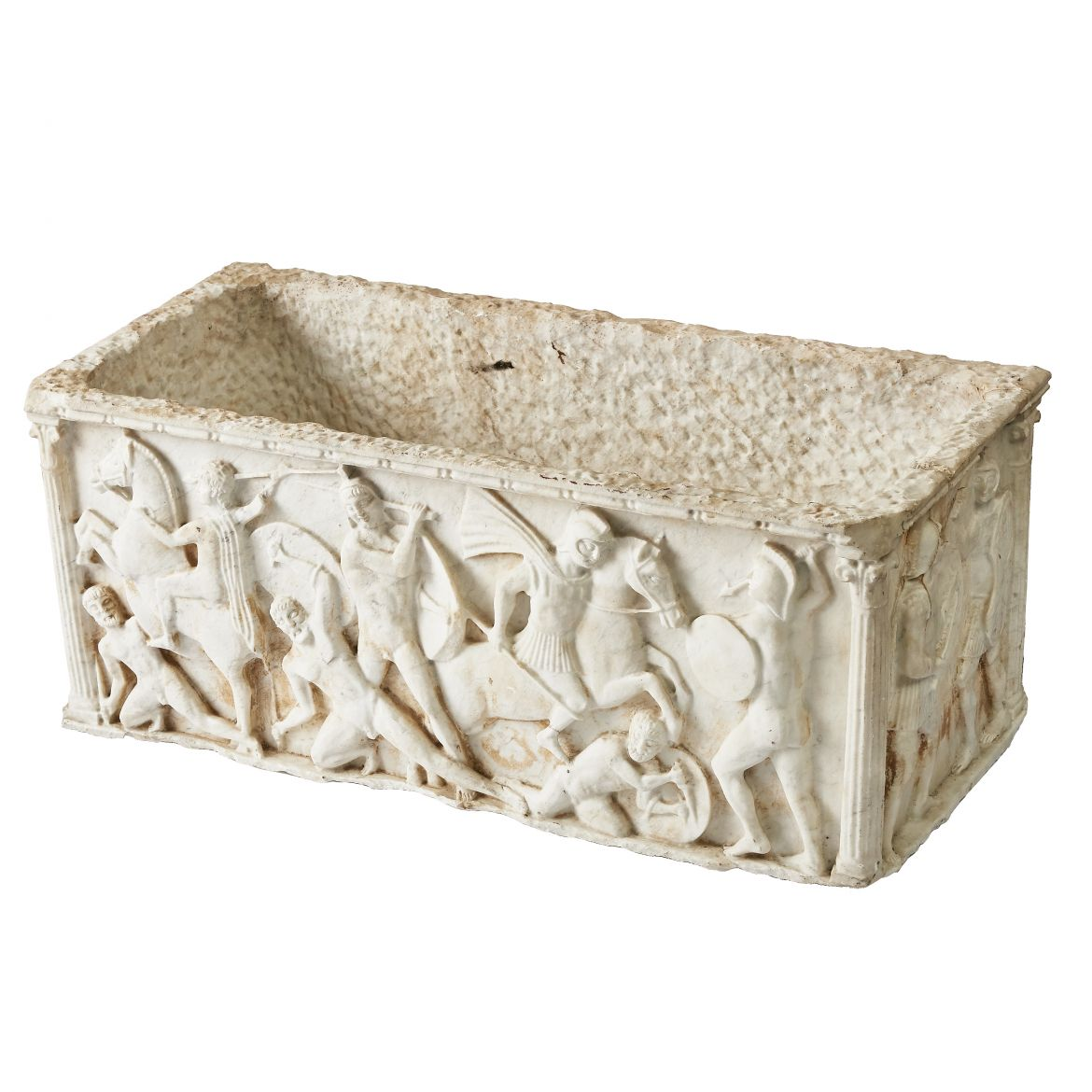 Carved Carrara Sarcophagus