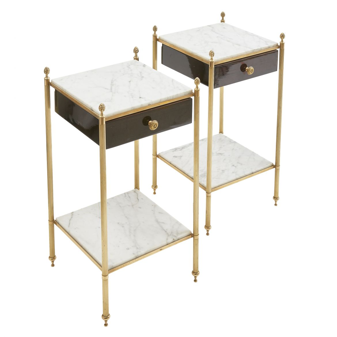 Pair Marble Top Sidetables