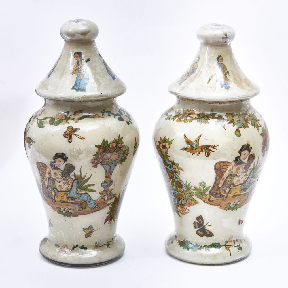 French Chinoiserie Decalcomania Vases