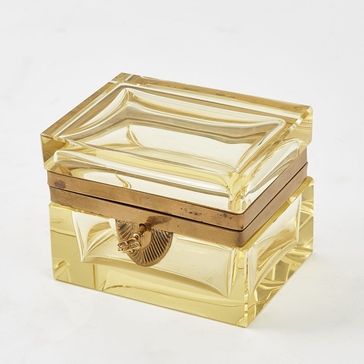 Murano Pale Yellow Glass Box