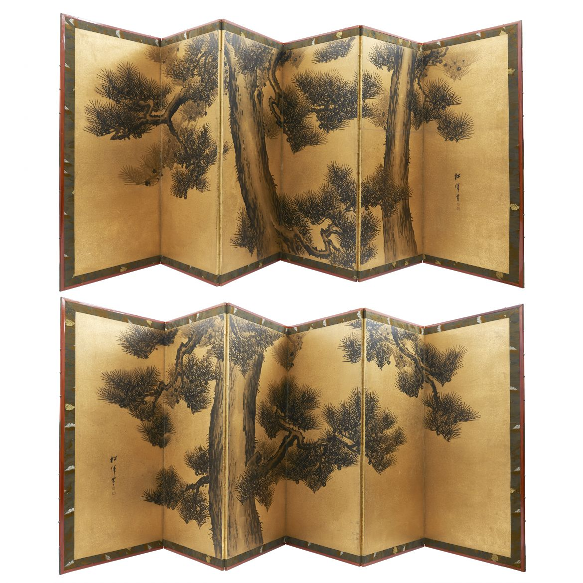 Pair Japanese Paper screens of Pine Trees