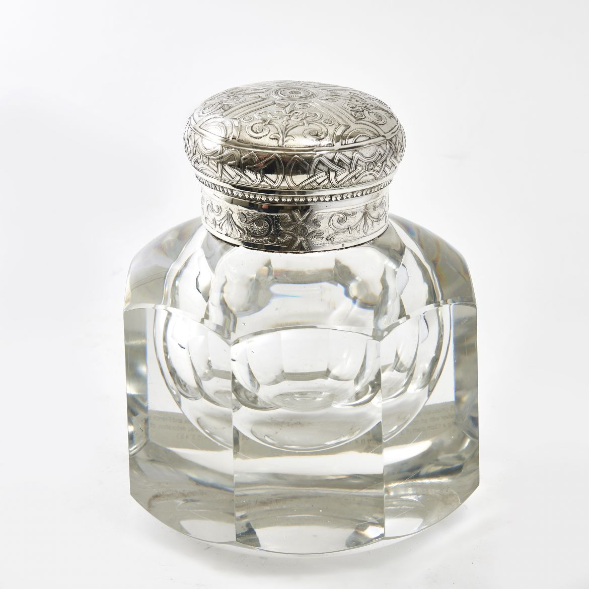 Large French Glass and Silver Inkwell