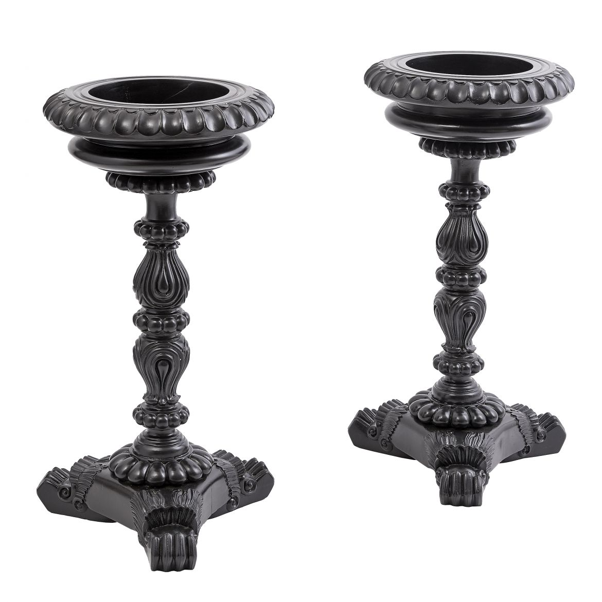 Pair Carved Planter Stands