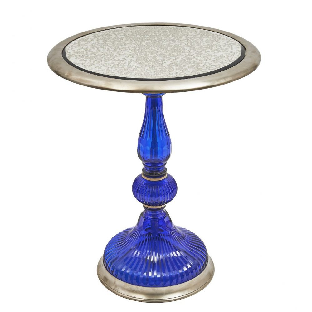 Contemporary Blue Glass Side Table