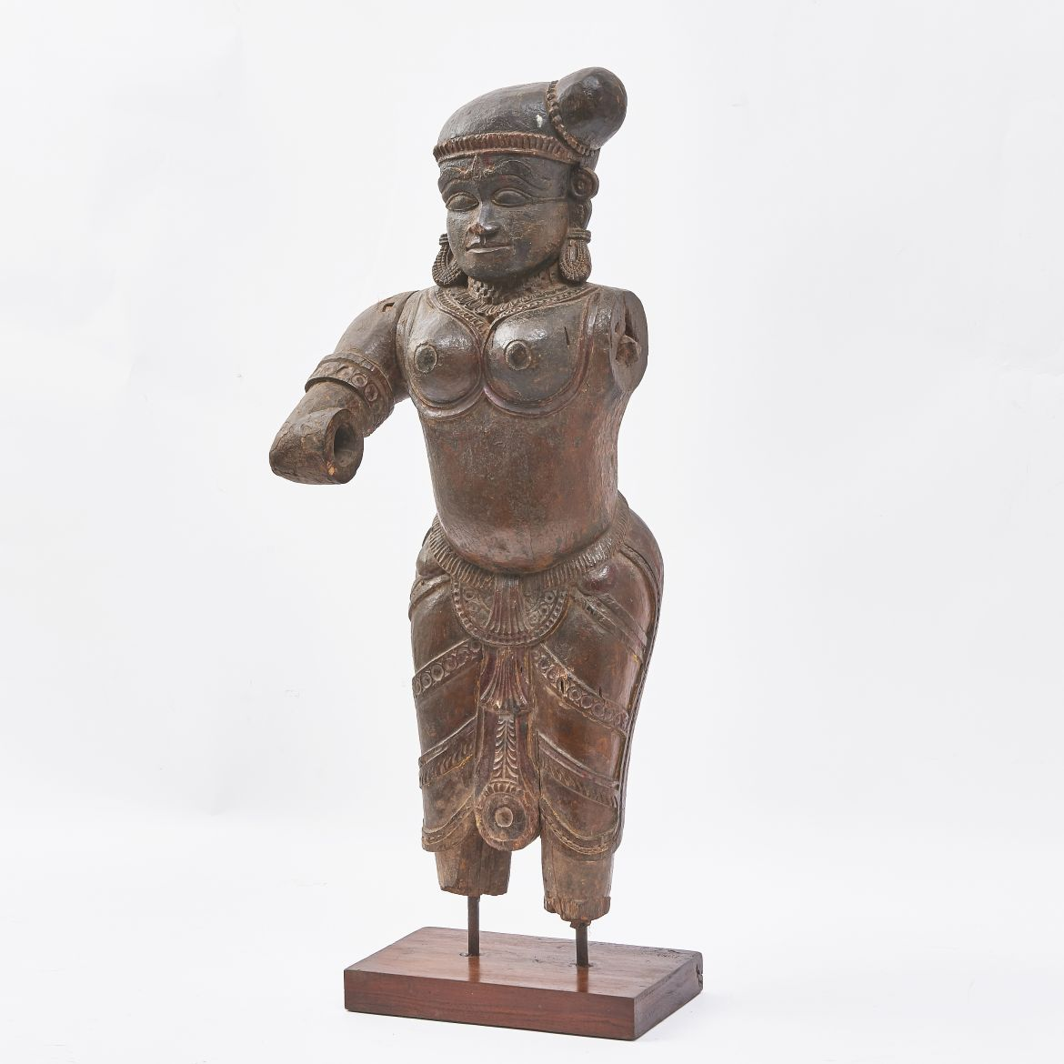 Carved Wooden Torso Of Radha