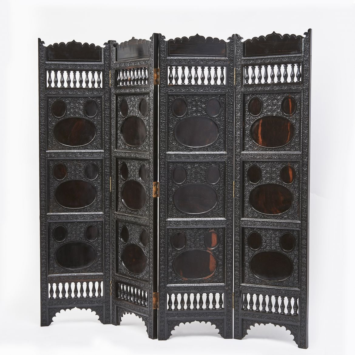 Indian Carved Ebony Screen