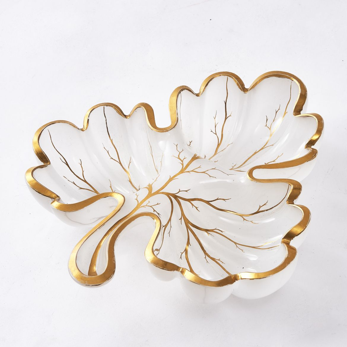 Murano White Glass Leaf Dish
