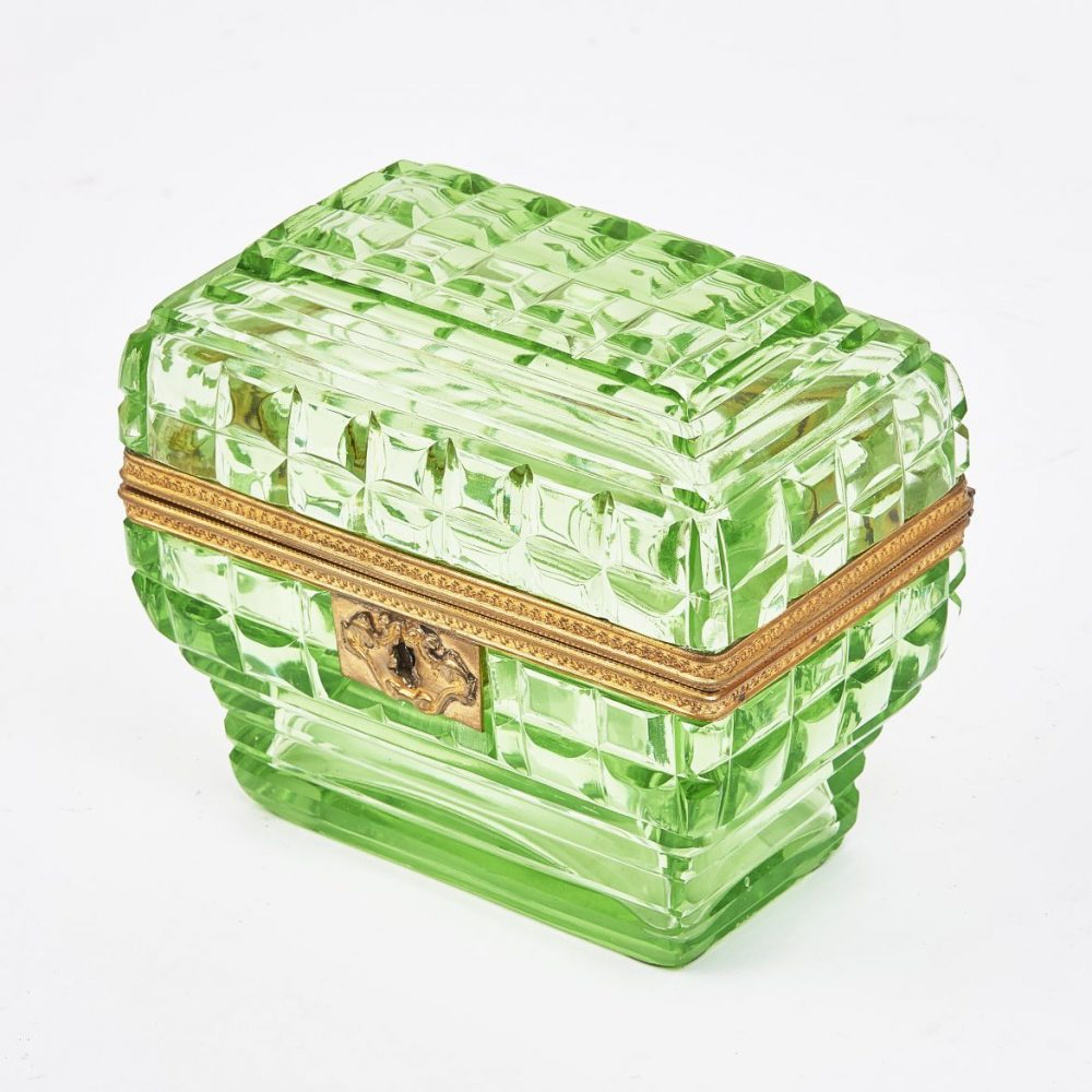 French Lime Green Glass Box