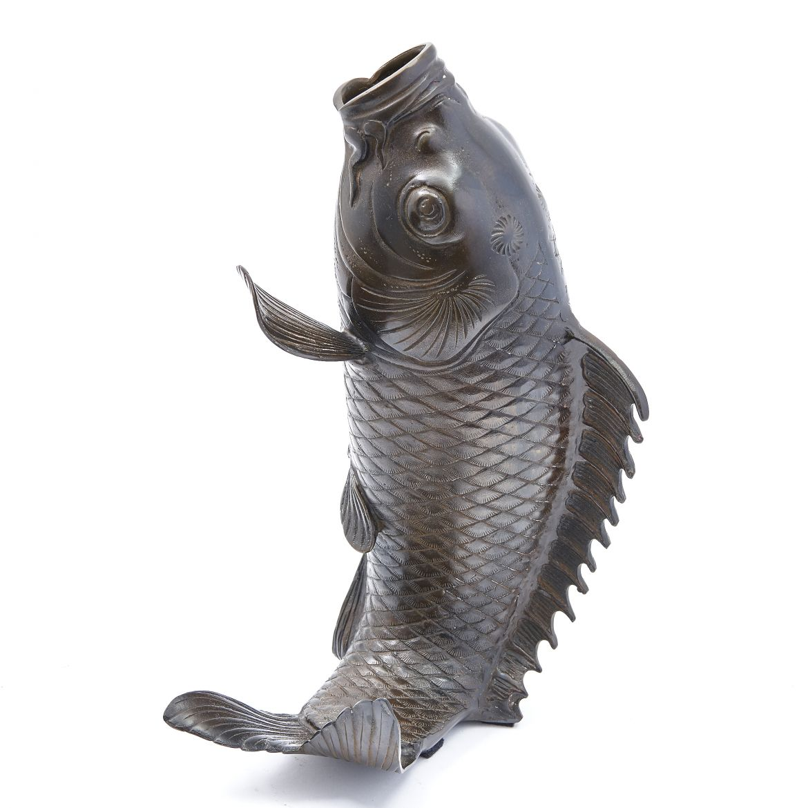 Japanese Bronze Carp shaped Vase