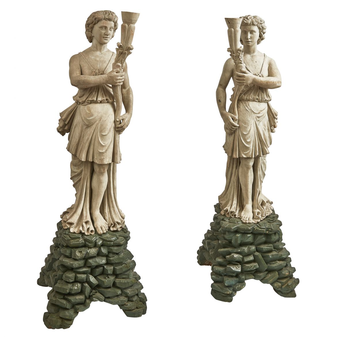 Venetian Figural Carved Wood Torcheres