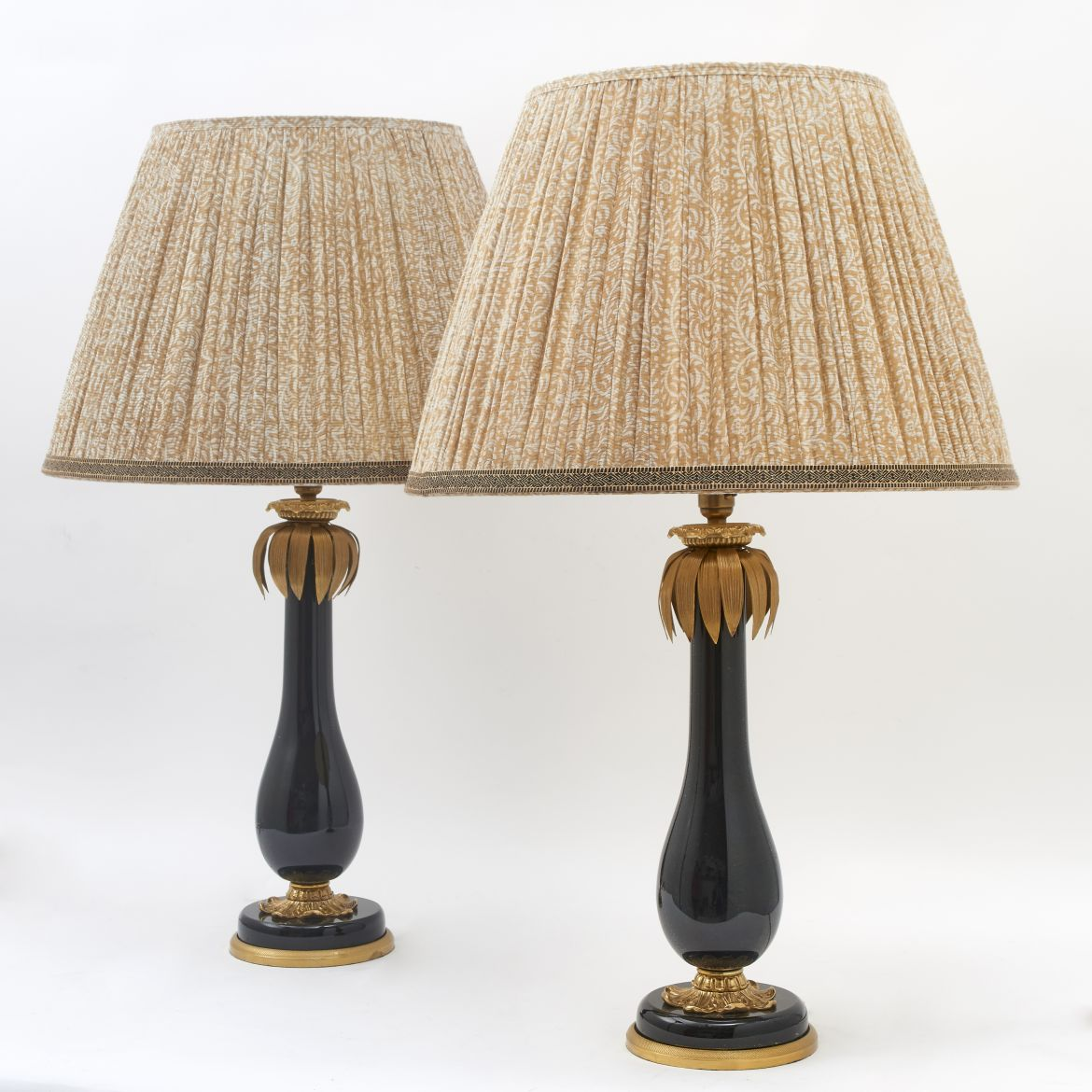 French Glass Lamps With Palm Details