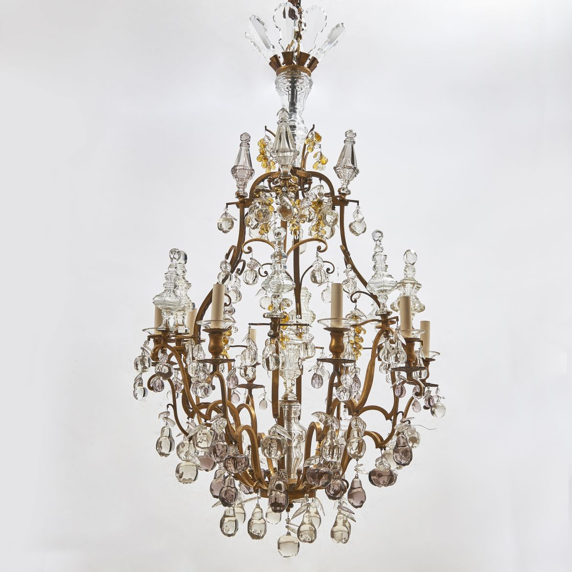 French Gilt Bronze Fruit Drop Chandelier