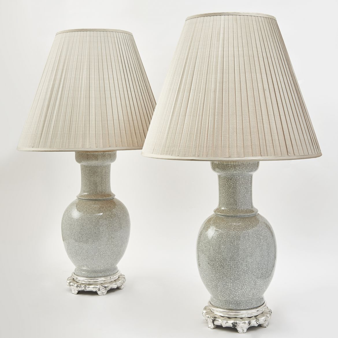 Chinese Crackleware Porcelain Lamps