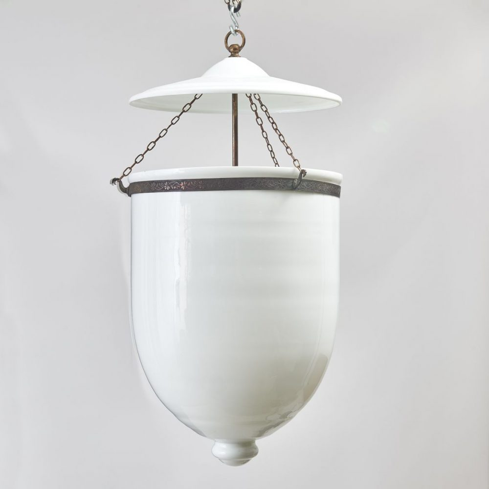 Contemporary White Glass Lantern