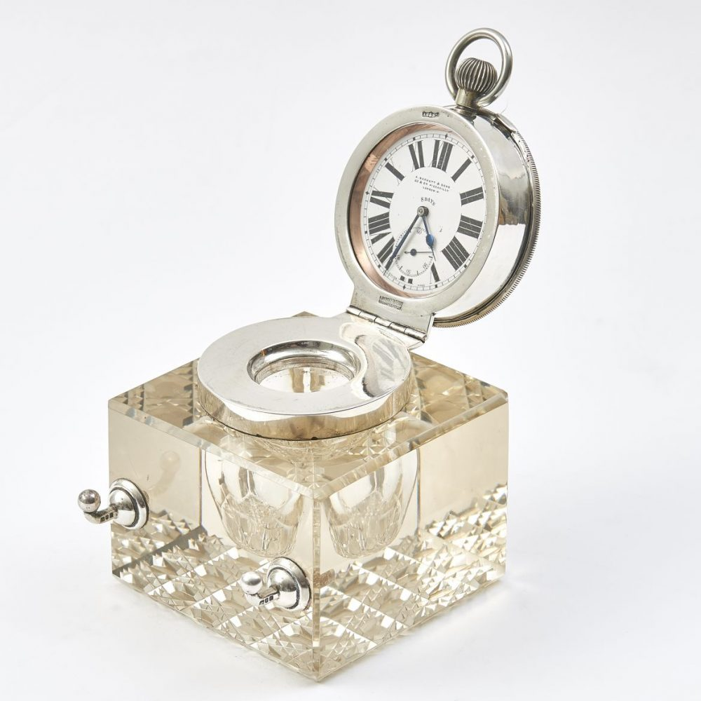 Glass and Silver Clock Inkwell