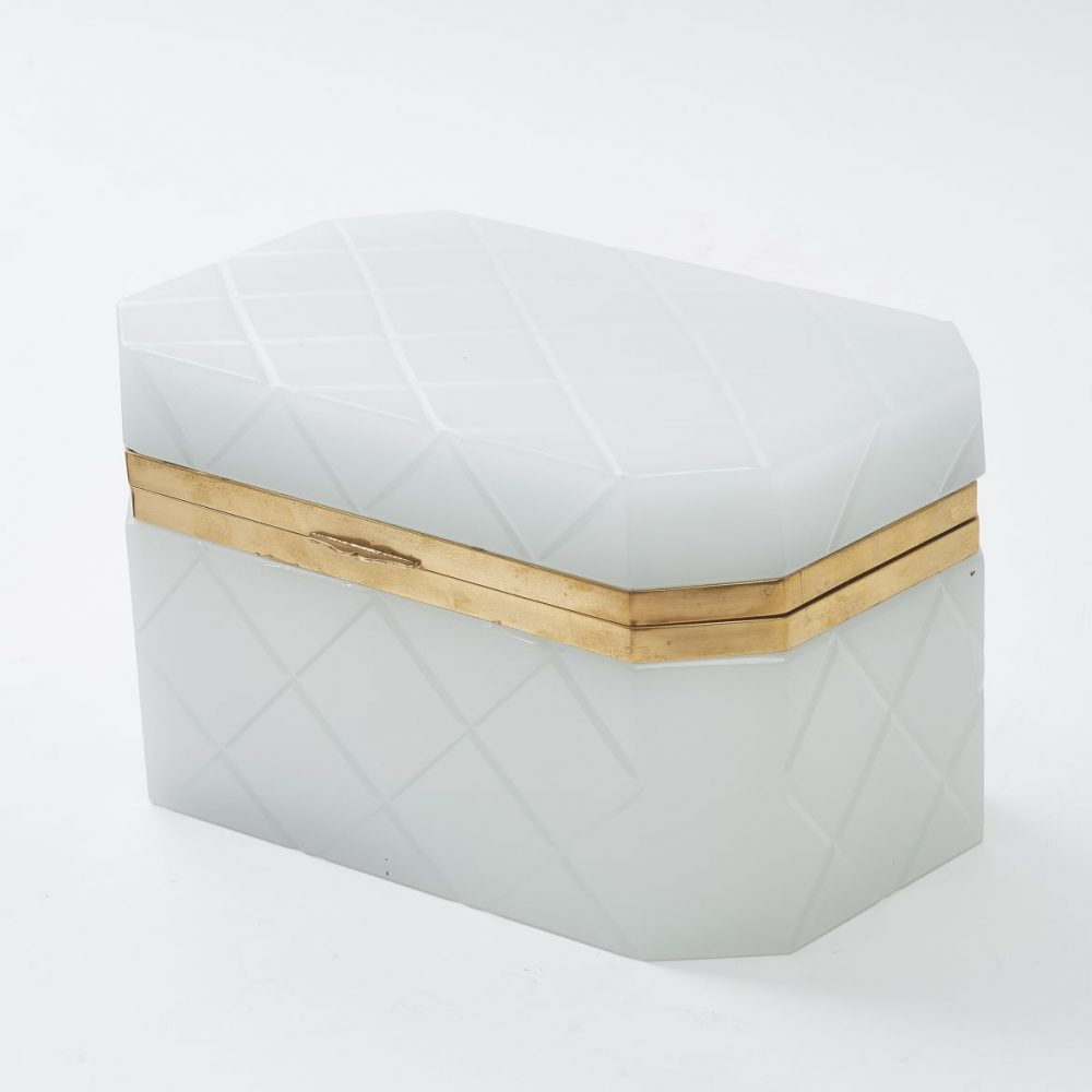 Large Italian White Glass Box