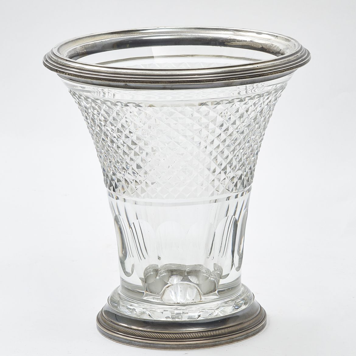 French Cut Crystal Bucket Vase