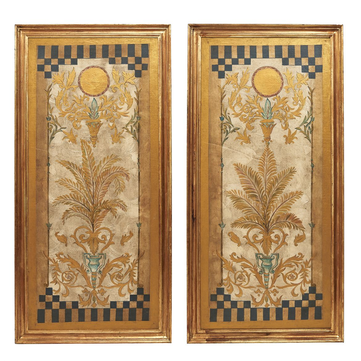 Pair Italian 1930s Painted Panels