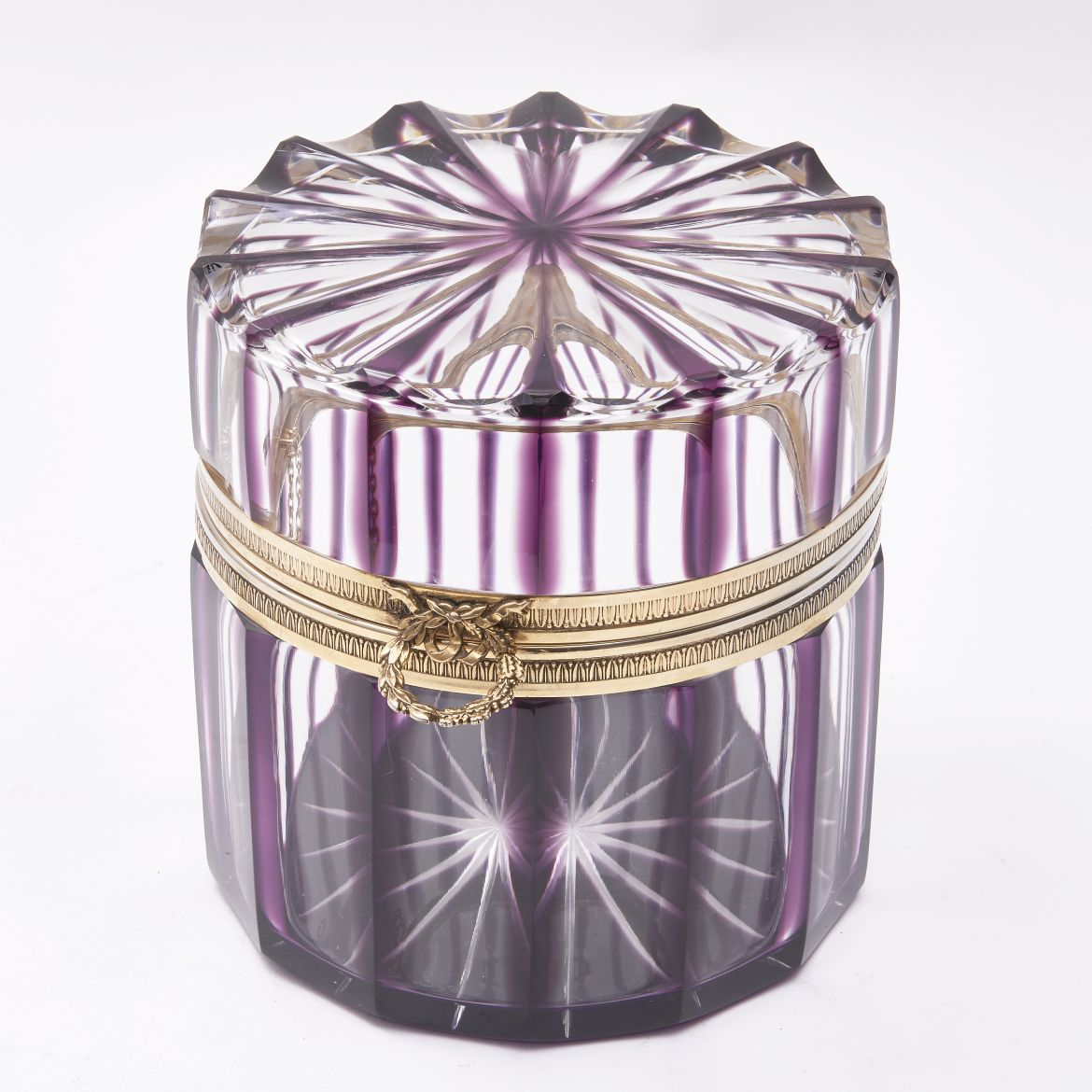 French Amethyst Cut Crystal Box