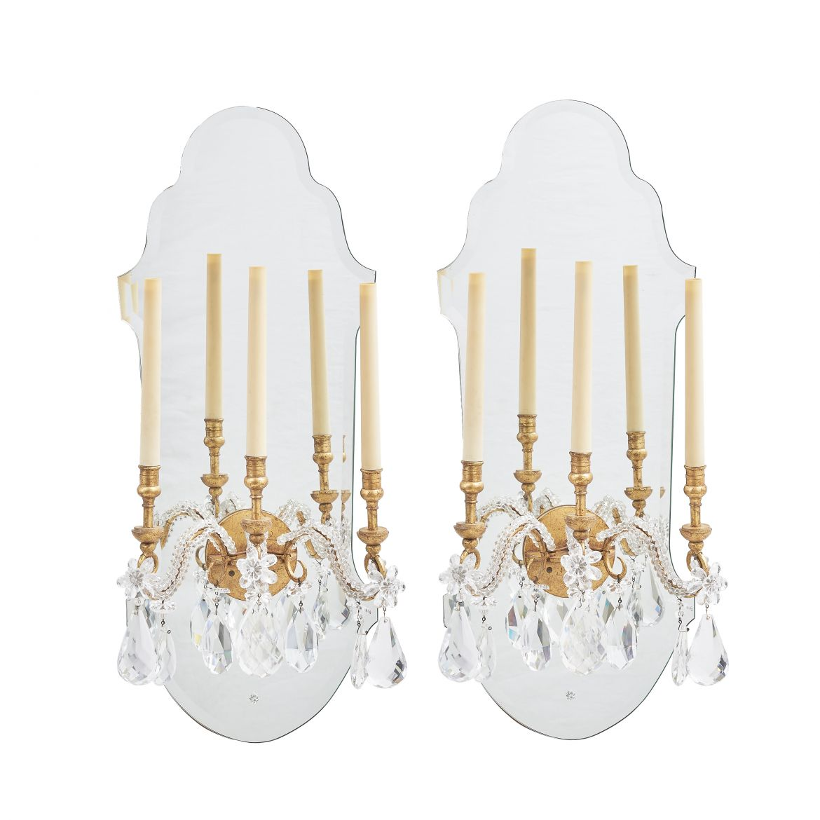 French Mirror Back Sconces