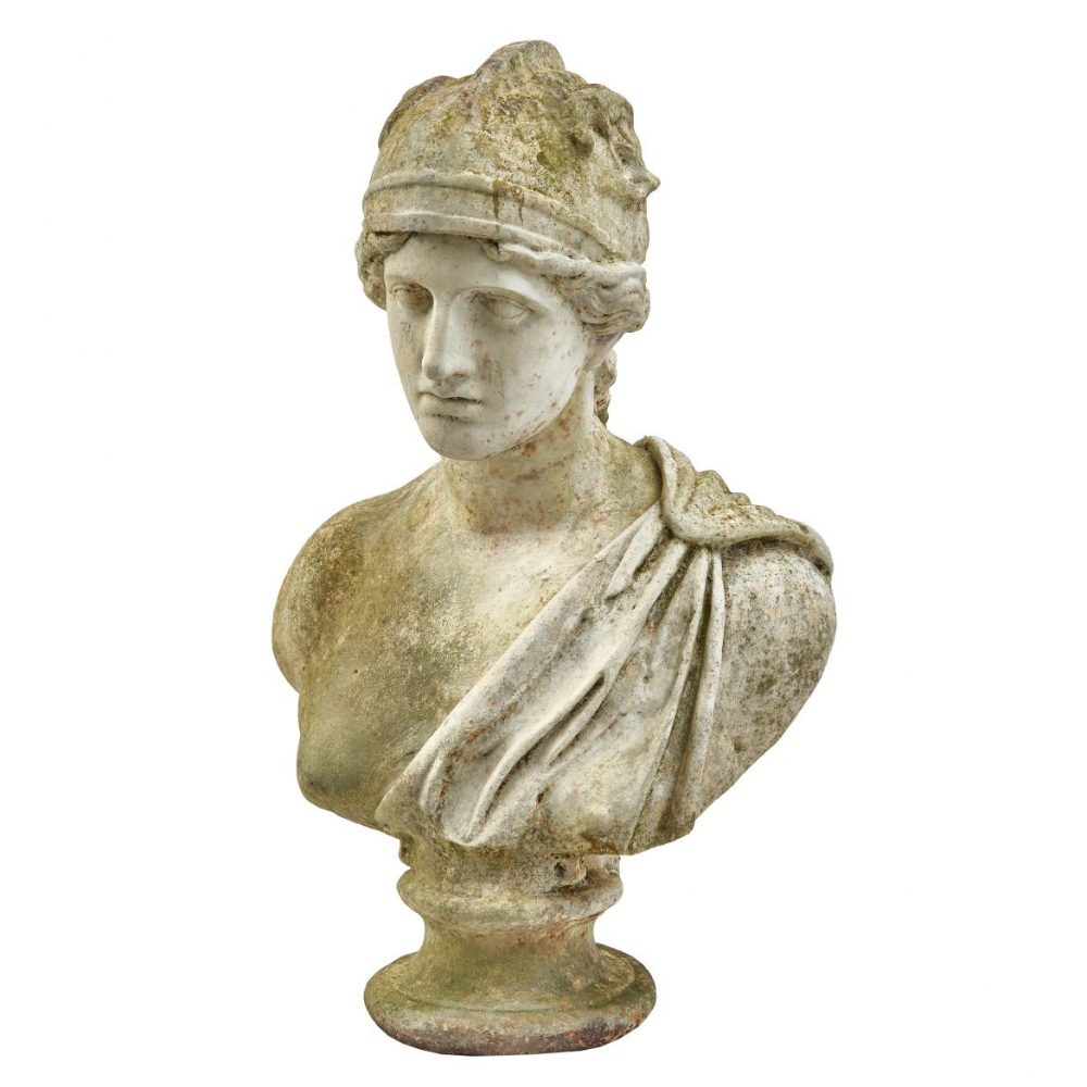 French Painted Iron Bust of Minerva
