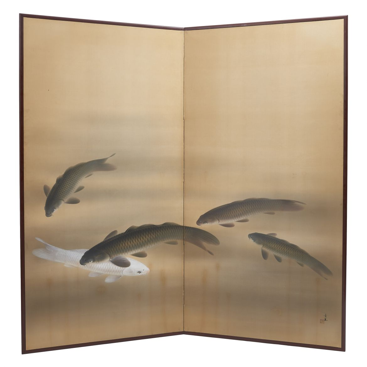 Japanese Paper Screen of Koi Carp