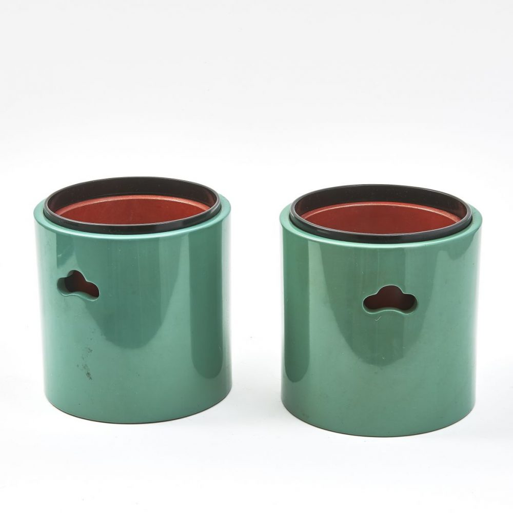 Japanese Green Lacquer Hibachis