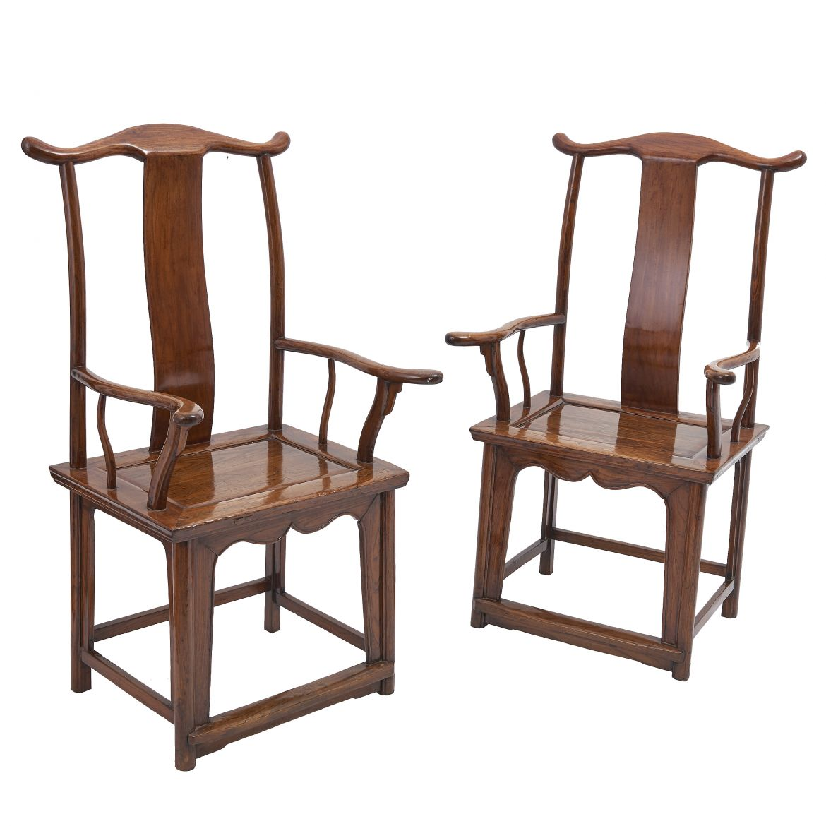 Pair Chinese Elm Armchairs