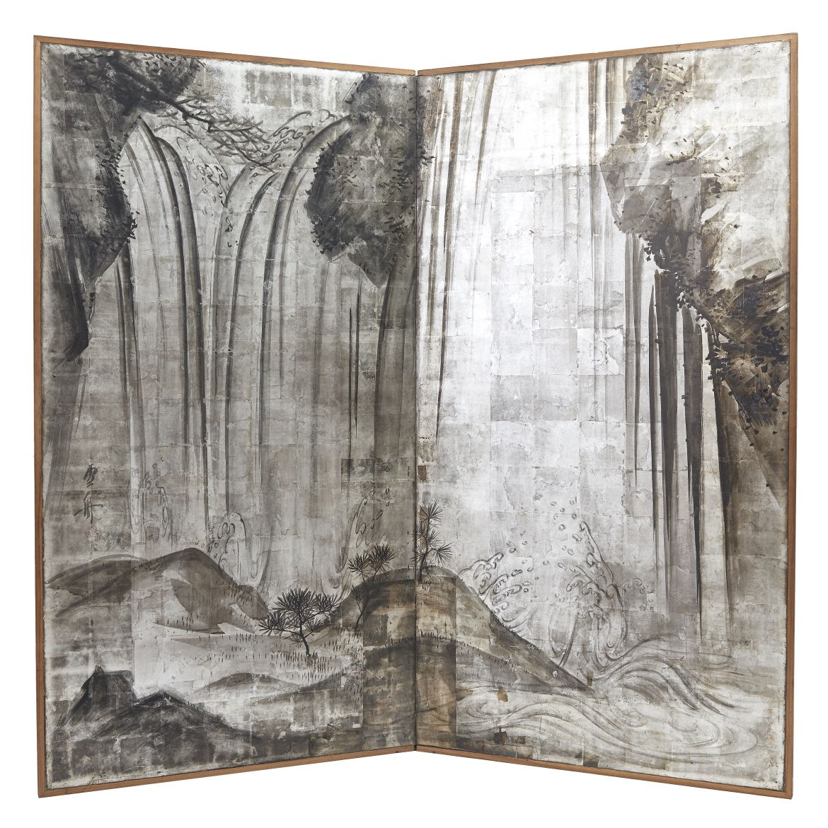 Japanese Silver Waterfall Screen