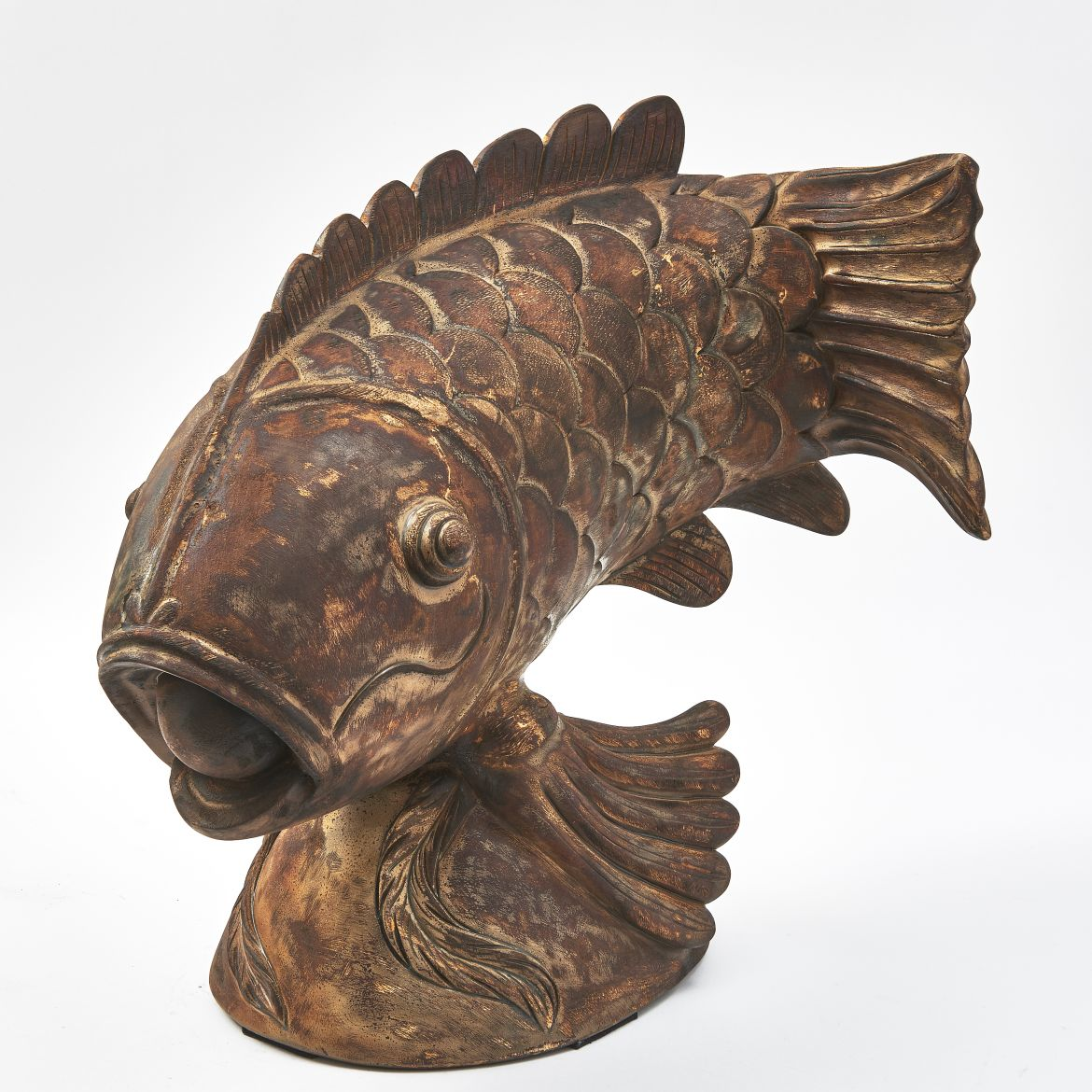 Japanese Carved Wood Carp
