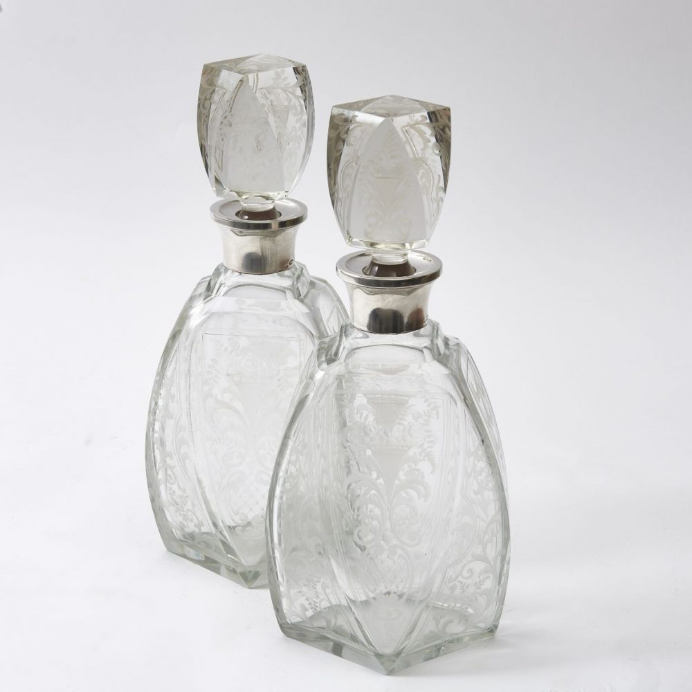 Pair Belgian Etched Decanters