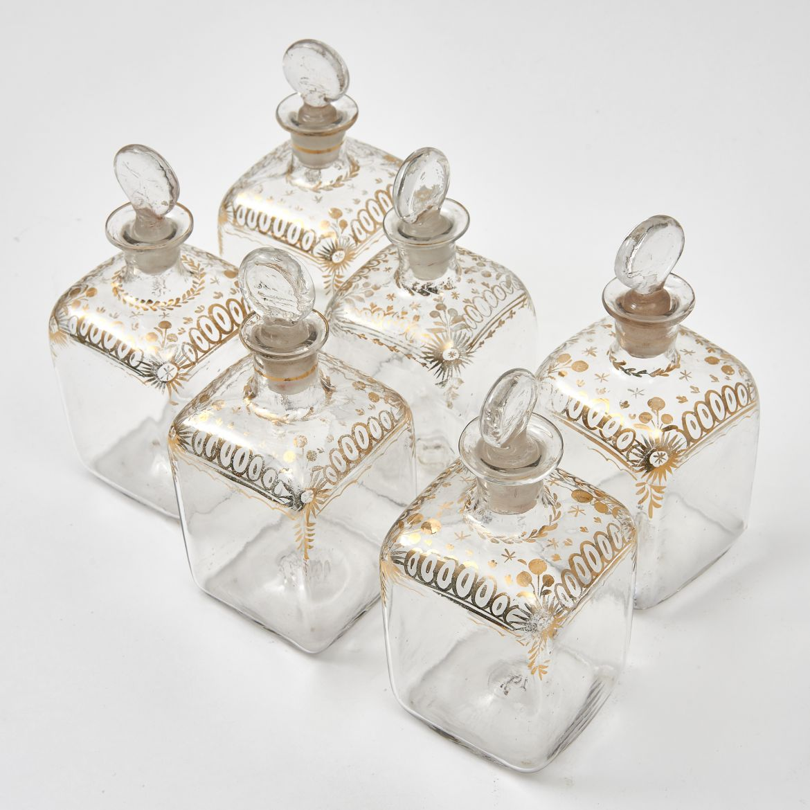 Dutch Glass and Gilt Perfume Bottles