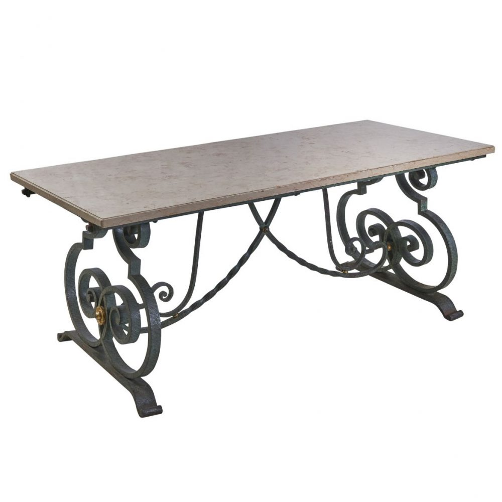 French Wrought Iron And Marble Dining Table