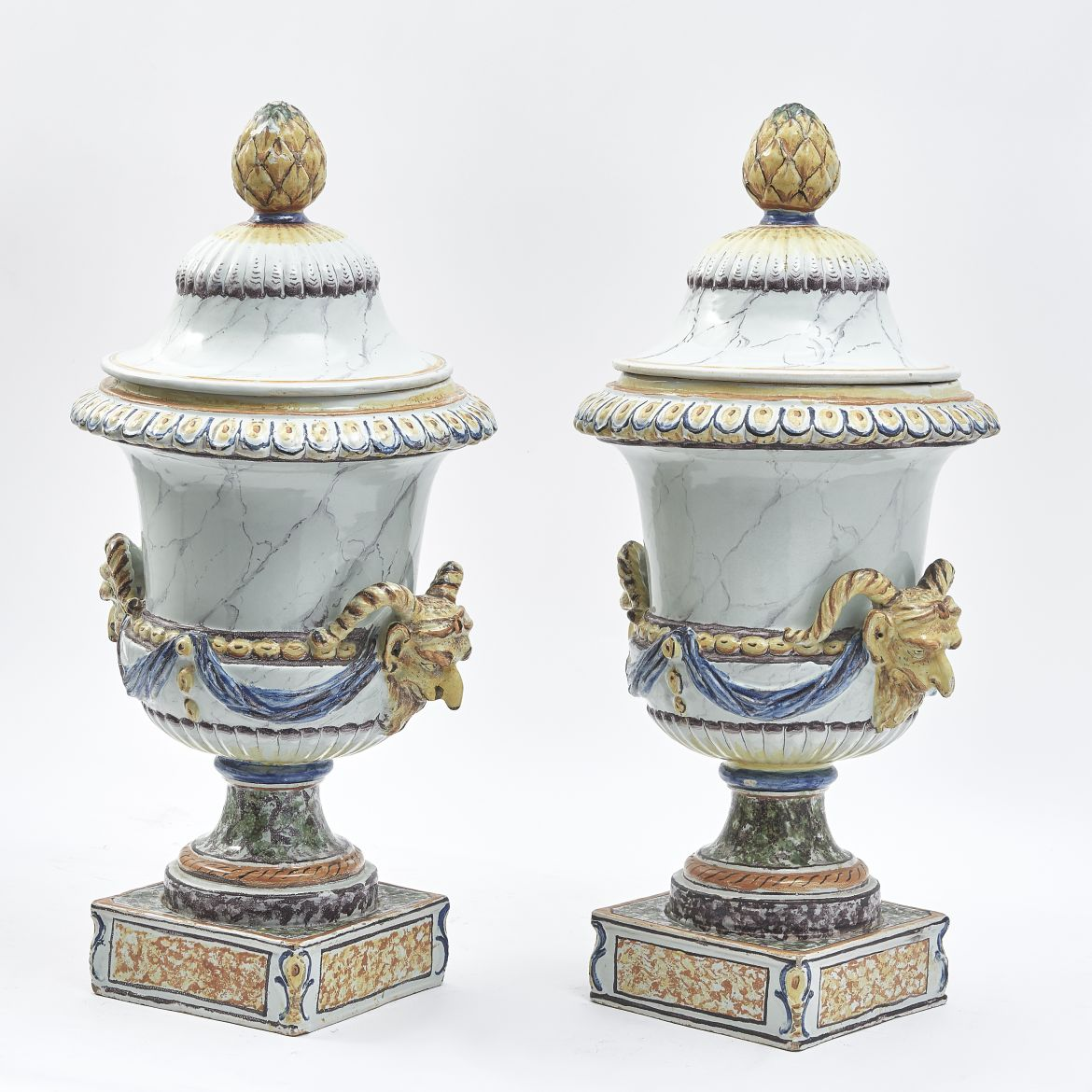 Pair French Faience Urns