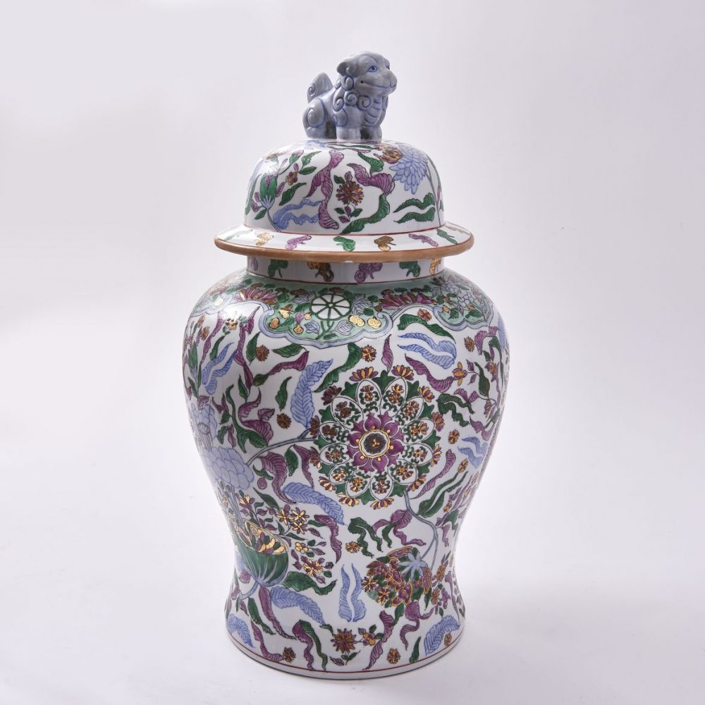 Decorated Chinese Porcelain Temple Jar