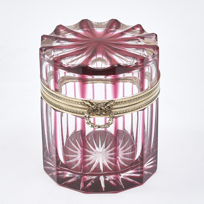 French Cylindrical Cranberry Glass Box