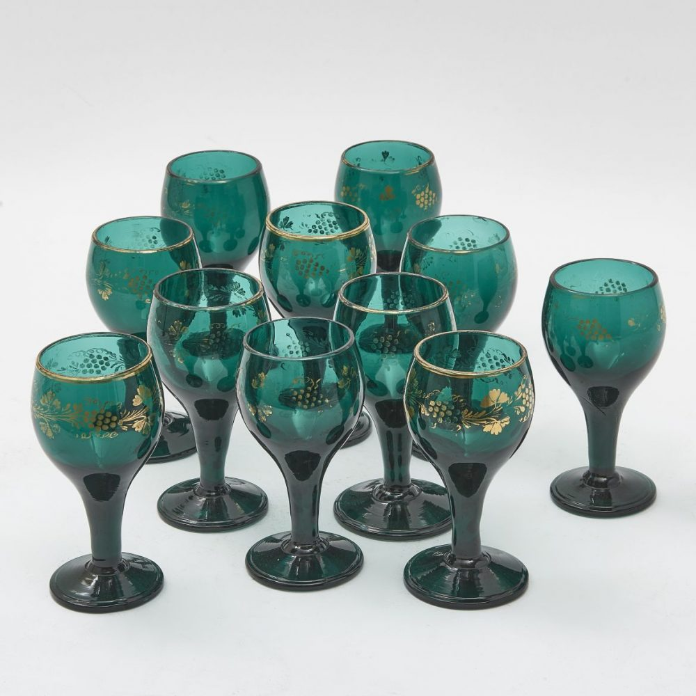 Eleven English Green Glasses