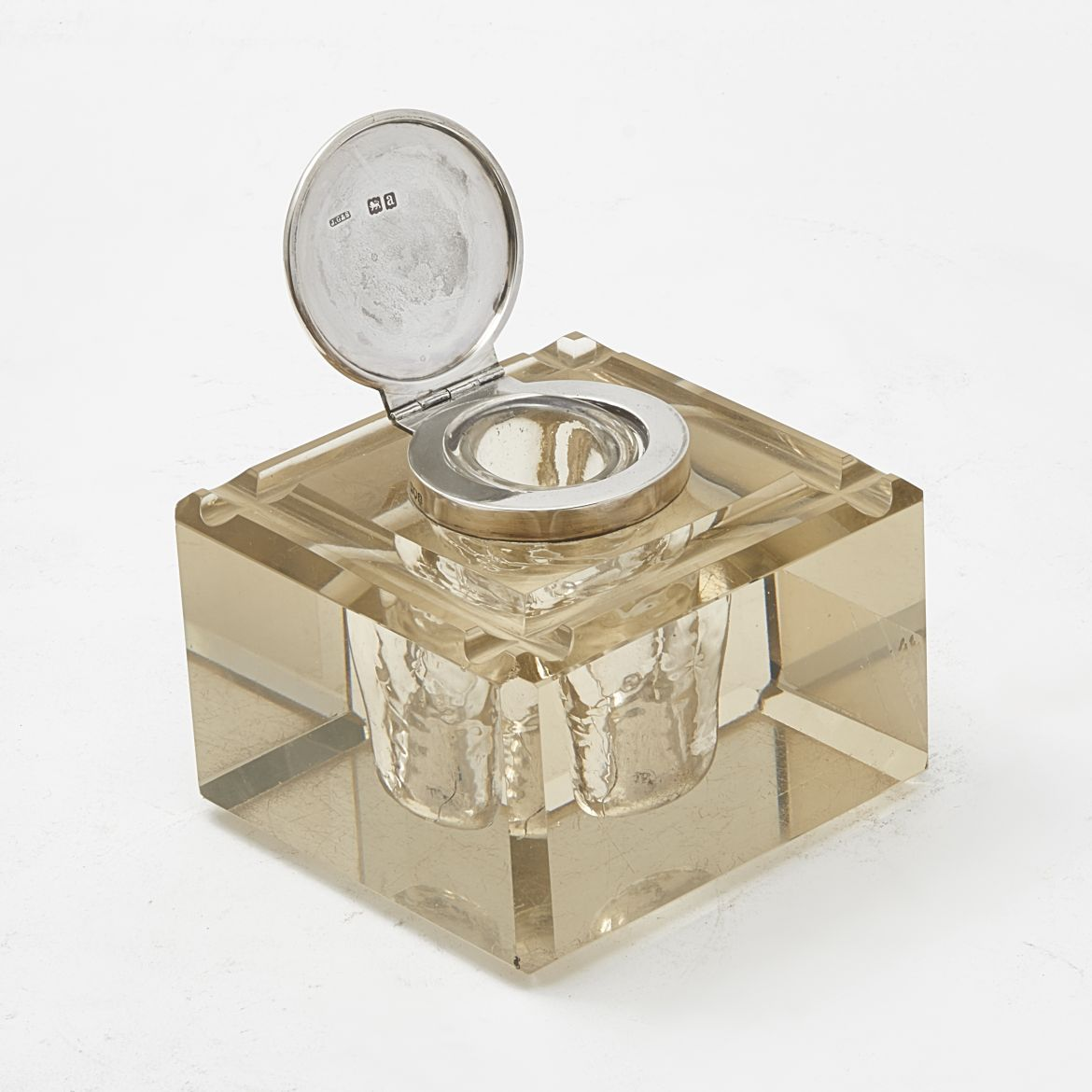 Square Glass and Silver Inkwell